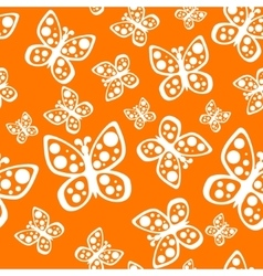 Beautiful seamless butterflies pattern in orange vector image