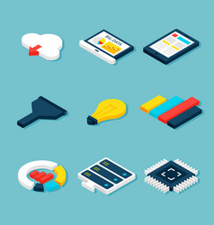 big data business isometric objects vector image