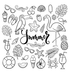 Big set of hand drawn cute cartoon summer symbol vector