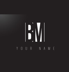 Bm letter logo with black and white negative vector