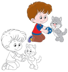 Boy and kitten vector image