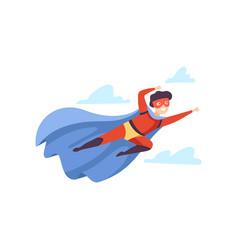 boy wearing red superhero costume flying in sky vector image