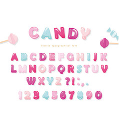 Candy glossy font design pastel pink and blue abc vector