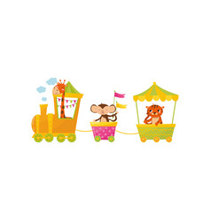 cartoon character of cute giraffe monkey and vector image