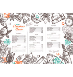 christmas happy holiday layout festive menu vector image