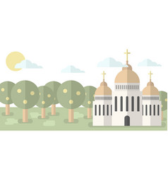 Church with domes and crosses against the backdrop vector