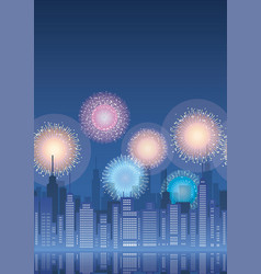 cityscape with skyscrapers and fireworks vector image