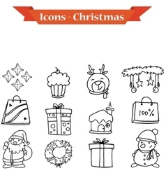 Collection of hand drawn Christmas icons vector