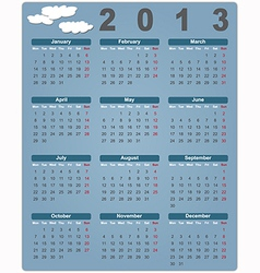 Colorful calendar for 2013 with cute clouds vector image