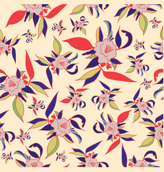 colorful floral print seamless pattern vector image