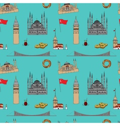 Colorful Istanbul tourist seamless pattern vector