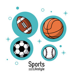colorful poster of sports lifestyle with balls of vector image