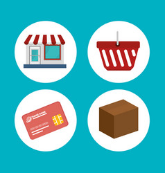 Commercial set isolated icons vector