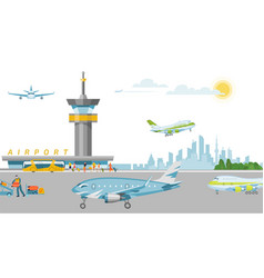 concept airport banner work airstrip airfield vector image