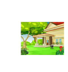 Cool back yard house with trees cartoon vector