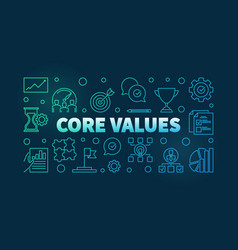 Core values colored outline banner vector