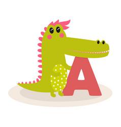 cute animal alphabet with crocodile vector image