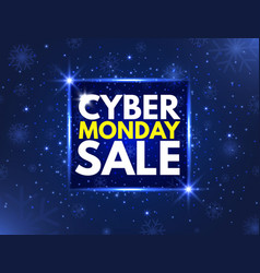 cyber monday sale concept banner luminous vector image
