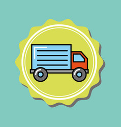 delivery truck transport cartoon emblem vector image