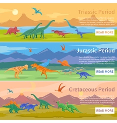 Dinosaurs Flat Horizontal Banners vector