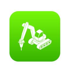 Drill tractor icon green vector