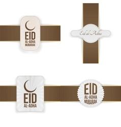 Eid al-adha mubarak badges collection vector
