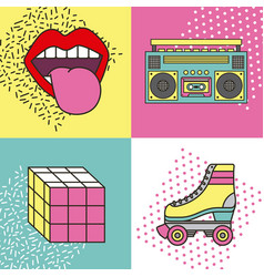 Fashion 90s patches retro elements collection vector