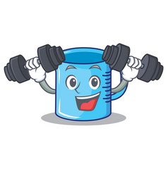 Fitness measuring cup character cartoon vector