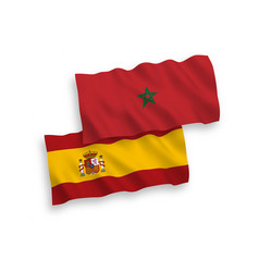 Flags morocco and spain on a white background vector