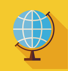 Flat Geography World Globe with long Shadow vector image