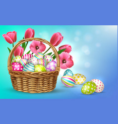 Flower eggs basket composition vector