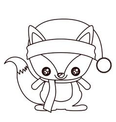 Fox cartoon of Merry Christmas design vector image