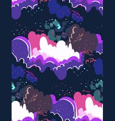 galaxy cartoon dark seamless pattern vector image