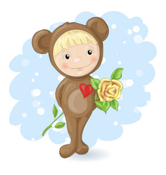 Girl in the suit of a teddy bear with a rose vector