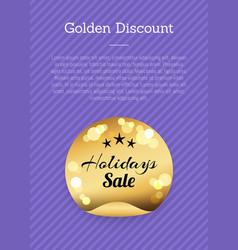 Golden discount holidays sale golden round label vector