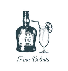 hand sketched pina colada glass and rum bottle vector image