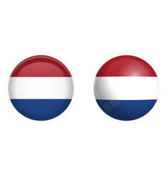 holland flag under 3d dome button and on glossy vector image