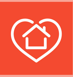 house in heart logo vector image