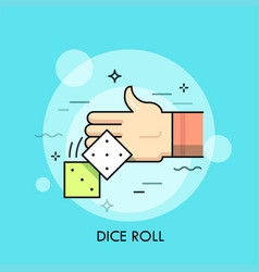 human hand throwing pair cubes with dots vector image