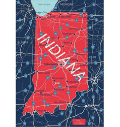 indiana state detailed editable map vector image