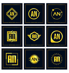 initial letter an logo set design vector image