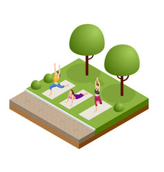 isometric group adults attending a yoga class vector image
