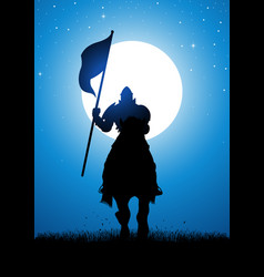 Knight bearing a flag vector