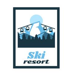 Logo ski resort label stamp winter landscape vector