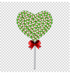 Lolipop heart made of sweets and candies and vector
