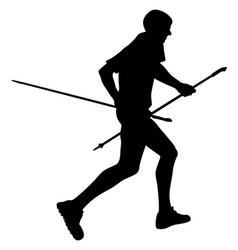 male runner with trekking poles running vector image