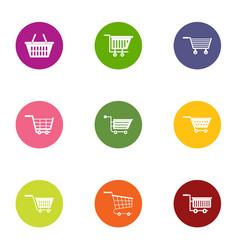 Market cart icons set flat style vector