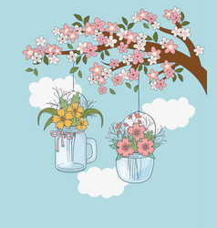 mason jars with flower hanging in tree branch vector image
