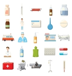 Medicine equipment icons set cartoon style vector image