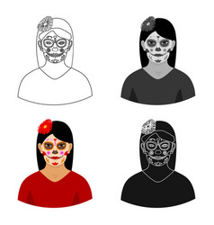 Mexican woman with calavera make up icon in vector